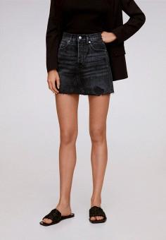 Юбка джинсовая, Mango, цвет: черный. Артикул: MA002EWJWNP4. Одежда