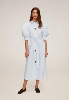 Платье, Mango, цвет: голубой. Артикул: MA002EWKCUP6. Одежда / Платья и сарафаны