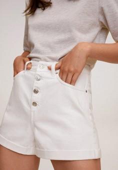 Шорты джинсовые, Mango, цвет: белый. Артикул: MA002EWKEVP0. Одежда / Шорты