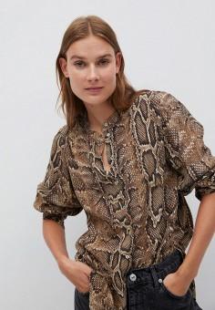 Блуза, Mango, цвет: коричневый. Артикул: MA002EWKEVQ7. Одежда / Блузы и рубашки