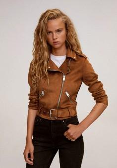 Куртка кожаная, Mango, цвет: коричневый. Артикул: MA002EWKIEA0. Одежда / Верхняя одежда / Кожаные куртки