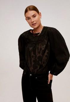 Блуза, Mango, цвет: черный. Артикул: MA002EWKIEF9. Одежда / Блузы и рубашки