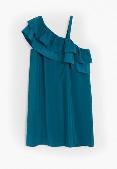 Платье, Mango Kids, цвет: синий. Артикул: MA018EGJGGB9. Девочкам / Одежда / Платья и сарафаны