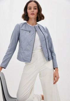 Куртка кожаная, Max&Co, цвет: голубой. Артикул: MA111EWJVPW2. Одежда / Верхняя одежда / Кожаные куртки