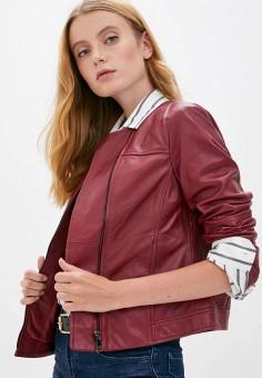 Куртка кожаная, Max&Co, цвет: бордовый. Артикул: MA111EWJVPW3. Одежда / Верхняя одежда / Кожаные куртки