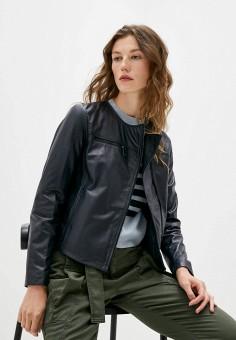 Куртка кожаная, Max&Co, цвет: синий. Артикул: MA111EWJVPW4. Одежда / Верхняя одежда / Кожаные куртки