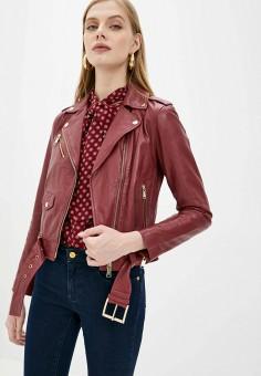 Куртка кожаная, Michael Michael Kors, цвет: бордовый. Артикул: MI048EWJUBB3. Одежда / Верхняя одежда / Кожаные куртки