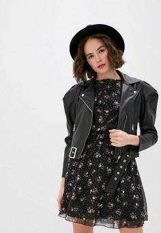 Куртка кожаная, Miss Miss by Valentina, цвет: черный. Артикул: MI059EWIMSZ5. Одежда / Верхняя одежда / Кожаные куртки