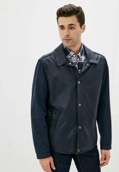 Куртка кожаная, Michael Kors, цвет: синий. Артикул: MI186EMJTVS6. Одежда / Верхняя одежда / Кожаные куртки