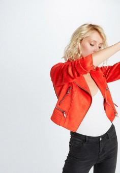 Куртка кожаная, Morgan, цвет: красный. Артикул: MO012EWIMYZ3.