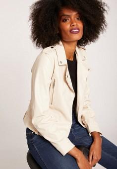 Куртка кожаная, Morgan, цвет: бежевый. Артикул: MO012EWIMYZ4.