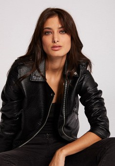 Куртка кожаная, Morgan, цвет: черный. Артикул: MO012EWIMZI7.