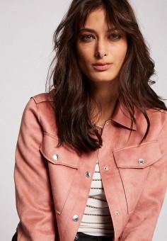 Куртка кожаная, Morgan, цвет: розовый. Артикул: MO012EWIMZK0.