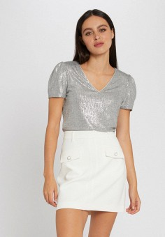 Блуза, Morgan, цвет: серебряный. Артикул: MO012EWJTBZ8.
