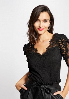 Блуза, Morgan, цвет: черный. Артикул: MO012EWJTCN0.