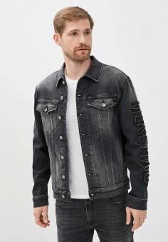 Куртка джинсовая, Moschino Couture, цвет: серый. Артикул: MO101EMHQUC7. Одежда / Верхняя одежда / Джинсовые куртки