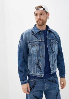 Куртка джинсовая, Moschino Couture, цвет: синий. Артикул: MO101EMICEG5. Одежда / Верхняя одежда / Джинсовые куртки