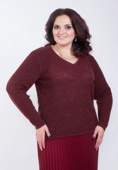 Пуловер, Wisell, цвет: бордовый. Артикул: MP002XW0IYDJ. Одежда / Джемперы, свитеры и кардиганы / Джемперы и пуловеры / Джемперы