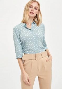 Рубашка, DeFacto, цвет: бирюзовый. Артикул: MP002XW11NLN. Одежда / Блузы и рубашки / Рубашки