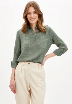 Блуза, DeFacto, цвет: зеленый. Артикул: MP002XW11NPE. Одежда / Блузы и рубашки