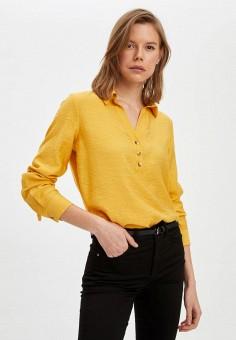 Блуза, DeFacto, цвет: желтый. Артикул: MP002XW11NPG. Одежда / Блузы и рубашки / Блузы