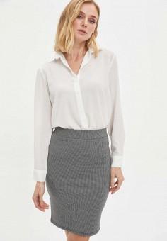 Блуза, DeFacto, цвет: бежевый. Артикул: MP002XW11NPK. Одежда / Блузы и рубашки
