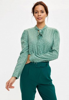 Блуза, DeFacto, цвет: зеленый. Артикул: MP002XW11NQP. Одежда / Блузы и рубашки