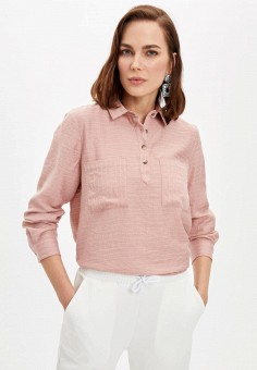 Блуза, DeFacto, цвет: розовый. Артикул: MP002XW11NQQ. Одежда / Блузы и рубашки / Блузы