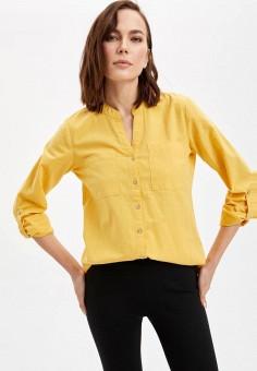 Блуза, DeFacto, цвет: желтый. Артикул: MP002XW11NQT. Одежда / Блузы и рубашки / Блузы