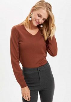 Свитер, DeFacto, цвет: коричневый. Артикул: MP002XW11NSW. Одежда / Одежда больших размеров