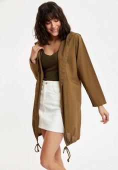 Куртка, DeFacto, цвет: хаки. Артикул: MP002XW11NTQ. Одежда / Верхняя одежда