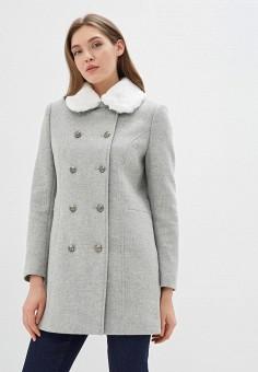 Пальто, Naf Naf, цвет: серый. Артикул: NA018EWEMFR4. Одежда / Верхняя одежда / Пальто / Зимние пальто