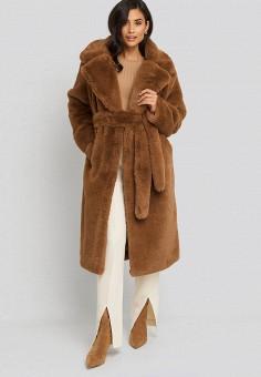 Шуба, NA-KD, цвет: коричневый. Артикул: NA033EWGQRJ3. Одежда / Верхняя одежда / Шубы и дубленки
