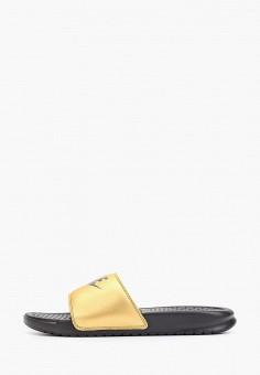 Сланцы, Nike, цвет: золотой. Артикул: NI464AWGQDF3. Обувь / Резиновая обувь