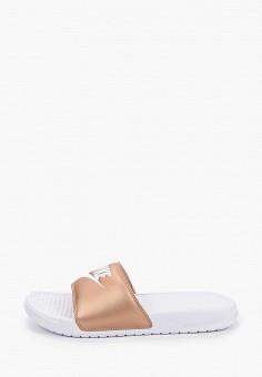 Сланцы, Nike, цвет: золотой. Артикул: NI464AWJSQN4. Обувь / Резиновая обувь
