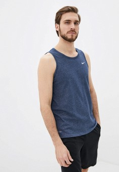 Майка спортивная, Nike, цвет: синий. Артикул: NI464EMHUFH5. Одежда / Майки