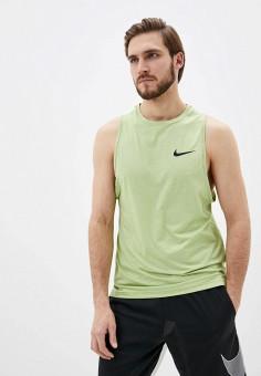 Майка спортивная, Nike, цвет: зеленый. Артикул: NI464EMHUJF9. Одежда / Майки
