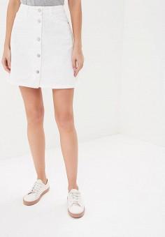 Юбка джинсовая, Noisy May, цвет: белый. Артикул: NO963EWZJU71. Одежда / Юбки
