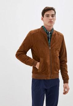 Куртка кожаная, Oakwood, цвет: коричневый. Артикул: OA002EMHOFQ0. Одежда / Верхняя одежда / Кожаные куртки