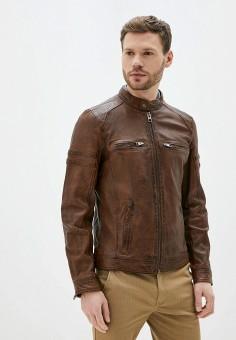 Куртка кожаная, Oakwood, цвет: коричневый. Артикул: OA002EMHOFQ5. Одежда / Верхняя одежда / Кожаные куртки