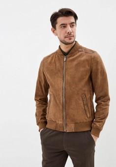 Куртка кожаная, Oakwood, цвет: коричневый. Артикул: OA002EMHOFR2. Одежда / Верхняя одежда / Кожаные куртки