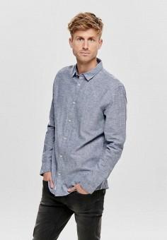 Рубашка, Only & Sons, цвет: синий. Артикул: ON013EMHJCC4. Одежда / Рубашки