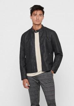 Куртка кожаная, Only & Sons, цвет: серый. Артикул: ON013EMJYDK1. Одежда / Верхняя одежда / Кожаные куртки
