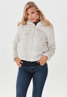 Шуба, Only, цвет: серый. Артикул: ON380EWCAXE1. Одежда / Верхняя одежда / Шубы и дубленки