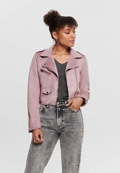 Куртка кожаная, Only, цвет: розовый. Артикул: ON380EWHSAQ7. Одежда / Верхняя одежда / Кожаные куртки