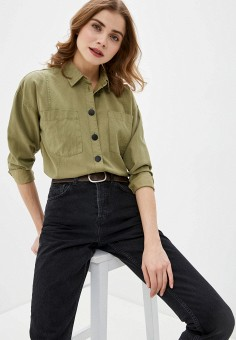 Рубашка, Only, цвет: хаки. Артикул: ON380EWHSBF4. Одежда / Блузы и рубашки / Рубашки