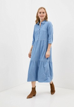 Платье джинсовое, Only, цвет: голубой. Артикул: ON380EWHSBM7. Одежда / Платья и сарафаны