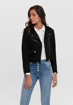 Куртка кожаная, Only, цвет: черный. Артикул: ON380EWJNUM2. Одежда / Верхняя одежда / Кожаные куртки