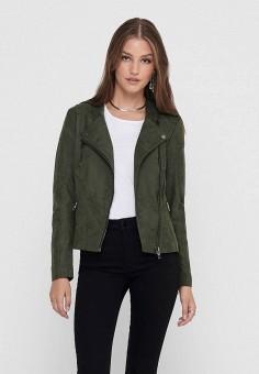 Куртка кожаная, Only, цвет: хаки. Артикул: ON380EWJUMO2. Одежда / Верхняя одежда / Кожаные куртки