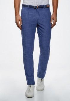 Брюки, oodji, цвет: синий. Артикул: OO001EMBJHB5. Одежда / Брюки / Повседневные брюки